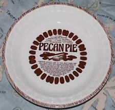 "MINT Jeannette Royal USA PECAN 11"" Deep Dish Pie Plate w/ Recipe RARE"