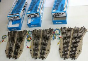 3x-Maerklin-5202-Weichenpaar-6x-elektr-Weiche-5202-5221-rechts-und-links-OVP-H0