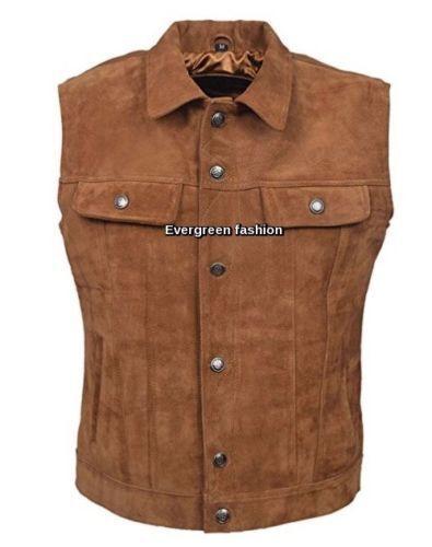 Herren real Cowhide tan NICE FITTING western style CLASSIC SUEDE Leder Waistcoat