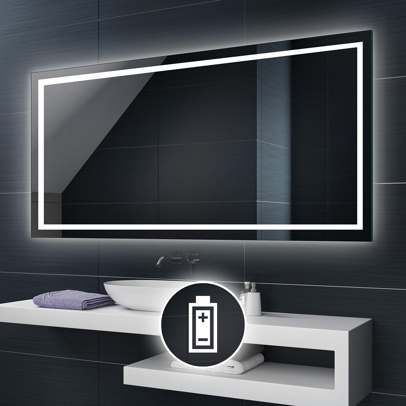 Alimenté par batterie DEL illuminé Miroir de salle de bains Batterie taille personnalisée L15