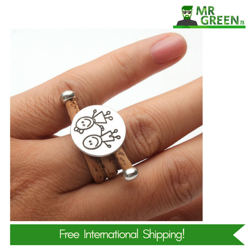 UNIQUE Adjustable Cork Ring For Women And Girls Silver Jewelry Birthday Gift