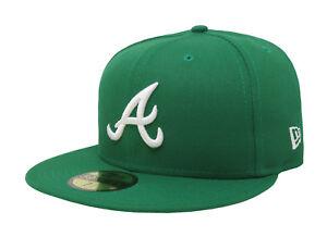 NEW ERA 59Fifty MLB Fitted Men Hat Atlanta Braves Kelly Green 5950 ... 6636ba025046