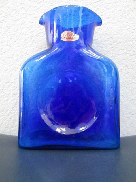 Vintage Blenko Art Glass Vase Cobalt Blue Colored Handcraft Decanter