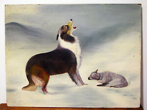 Antique-Vintage-OIL-ON-BOARD-PAINTING-DOG-GUARDING-LAMB