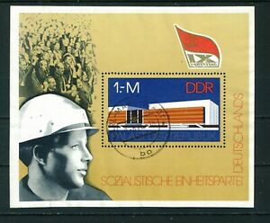 East-Germany-1976-Socialist-Unity-Party-Mini-sheet-of-stamps-used-Sg-MSE-1840