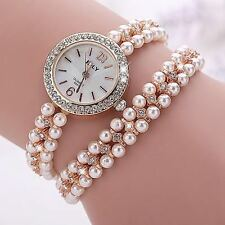 Fancy Pearl Gemstone Ladies Wrist Watch Gift For Her Women Long  Strap