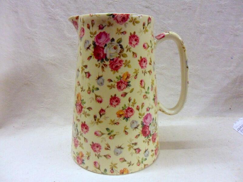 pink basket floral design 4 pint pitcher jug by Heron Cross Pottery