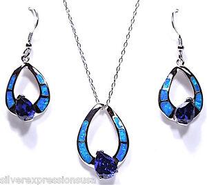 Free 18 Chain Tanzanite Blue Inlay Fire Opal 925 Sterling Silver Pendant /& Earrings Set