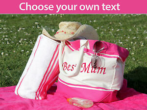 Personalised-embroidered-beach-canvas-bag-with-matching-towel-Mother-s-Day-Gift