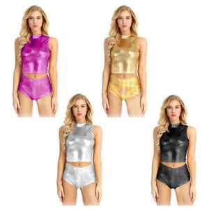 Mujeres-Wet-Look-Casual-sin-Mangas-Camiseta-sin-mangas-Blusa-Camisa-Cuello-De-Tortuga-Crop-Tops