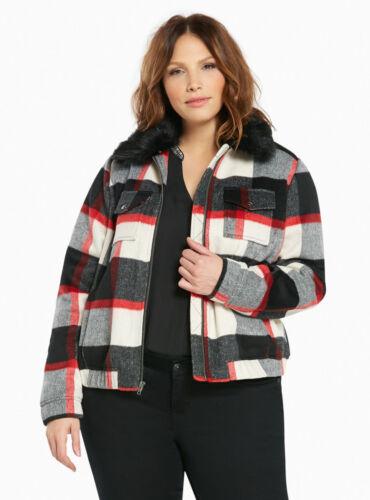 NWT Torrid red and white plaid wool bomber coat black