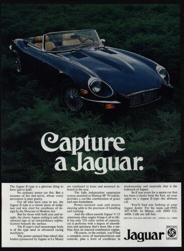 1974 JAGUAR E-Type Convertible Sports Car VINTAGE AD Capture a Jaguar