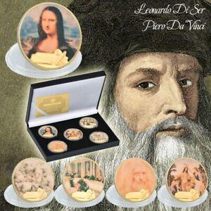 5pcs-Painter-Da-Vinci-Commemorative-Coin-Art-Craft-Gold-Foil-Souvenir-for-Gift