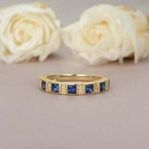 1-20Ct-Princess-Cut-Blue-Sapphire-Eternity-Wedding-Band-Ring-14K-Yellow-Gold-FN