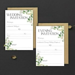 WEDDING-INVITATIONS-BLANK-GREY-amp-GREENERY-DAY-amp-EVE-PACKS-OF-10