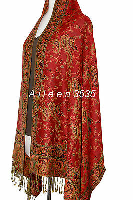 Gorgeous Pashmina &  Silk Paisley Shawl-Dark.Red#A