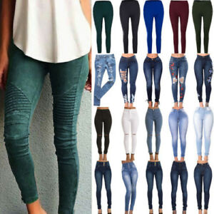 Women-Stretch-Skinny-Denim-Jeans-Casual-High-Waist-Jegging-Pencil-Pants-Trousers