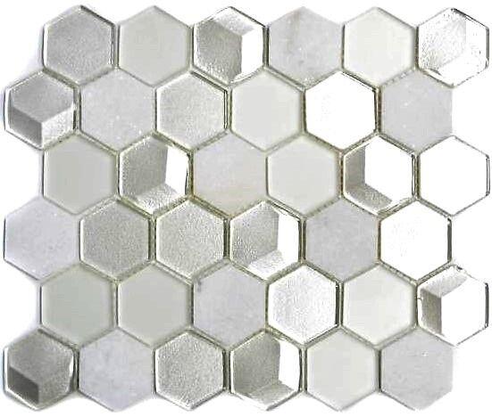 Naturstein Glasmosaik hexagonal silber weiß Küche Wand WC Bad WB11D-HXN11|1Matte