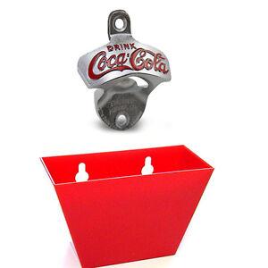 COCA COLA Wand-Flaschenö<wbr/>ffner Premium Set 1929er Coke Retro Style Korken-Fänger
