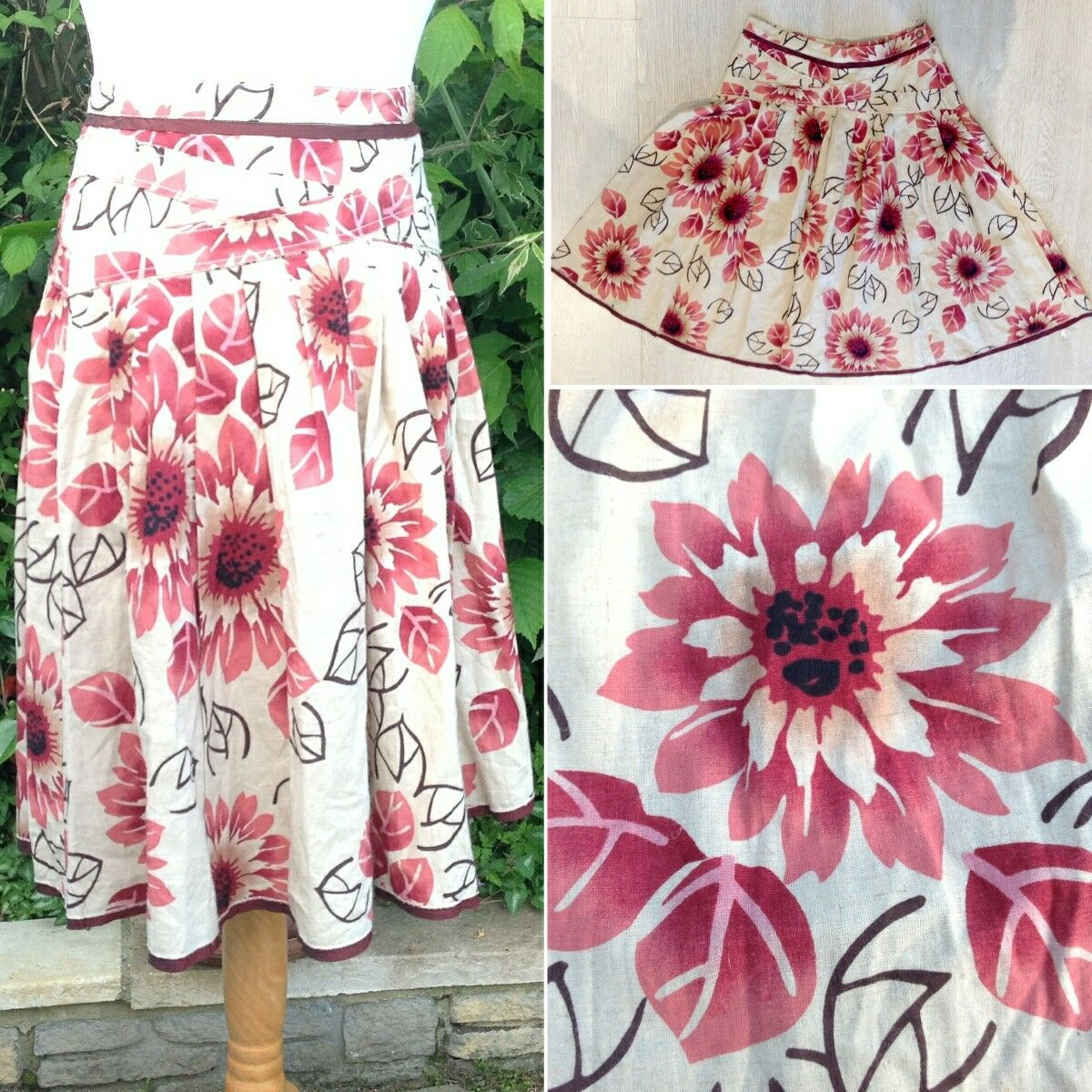 NEW ibluees by Max Mara Linen Cotton Floral Full Skirt UK14 Folk Lagenlook Cruise