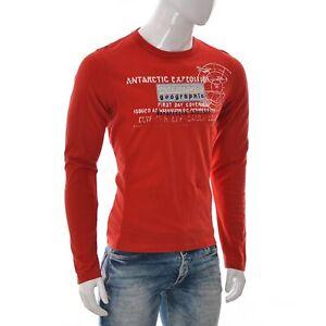 Napapijri-Geographic-Expedition-Team-Mens-Graphic-T-Shirt-Long-Sleeve-Medium-Red