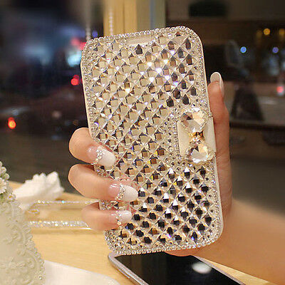Bling Diamonds PU Leather Flip Wallet Case Covers For Smart phone Samsung Galaxy
