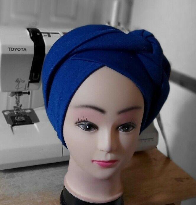 Nigeria african Women Elegant Turban cap auto gele Headtie blue turban