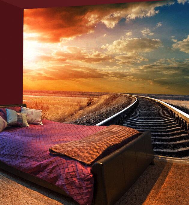 3D Dusk Railway 455 Wall Paper Wall Print Decal Wall Deco Indoor Mural Summer