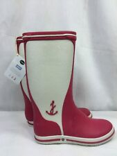 NEW LE CHAMEAU for JACADI PARIS Rubber Rain Booties Pink White Boot 34  Girls' 3