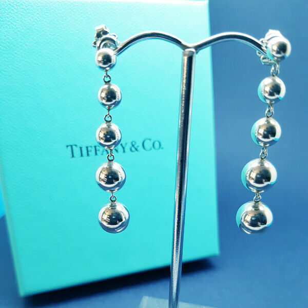 Tiffany Co Solid Sterling Silver Graduated Bead Earrings Real Mint