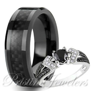 His Tungsten Black Carbon Fiber Her 925 Sterling Silver Wedding Ring