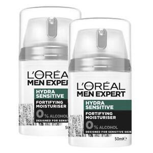 NEW L'Oreal Paris Men Expert Hydra Sensitive Fortifying Moisturiser 50ml x 2