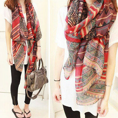 Lady Red Vintage Women Long Soft Cotton Voile Print Scarves Shawl Wrap Scarf