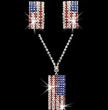 Red White Blue USA Flag Crystal Rhinestone Tennis Necklace Pendant Earrings Set