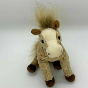 Ty Beanie Buddies Filly the Horse Beige with Gold Sparkle 2003
