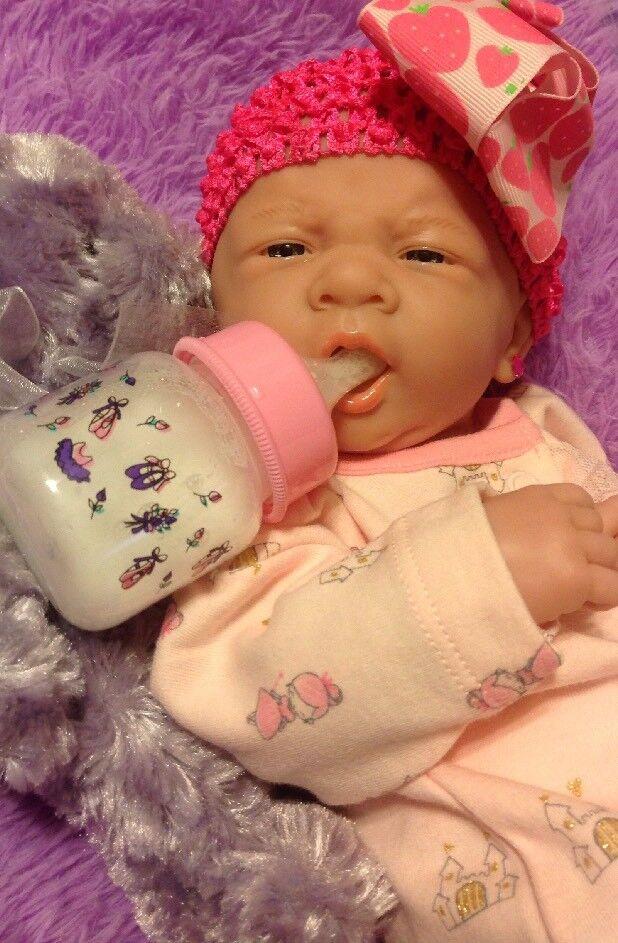 PERFECT CUTE BABY GIRL BERENGUER LIFELIKE REBORN PREEMIE 14  PACIFIER BOTTLE ++