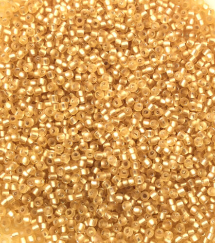11//0 Japanese seed beads Matte Silver Lined Lt Gold-28grams