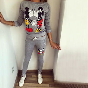 a923596e0 Image is loading Women-Mickey-Mouse-Print-Tracksuit-Hoodies-Jacket-Tops-