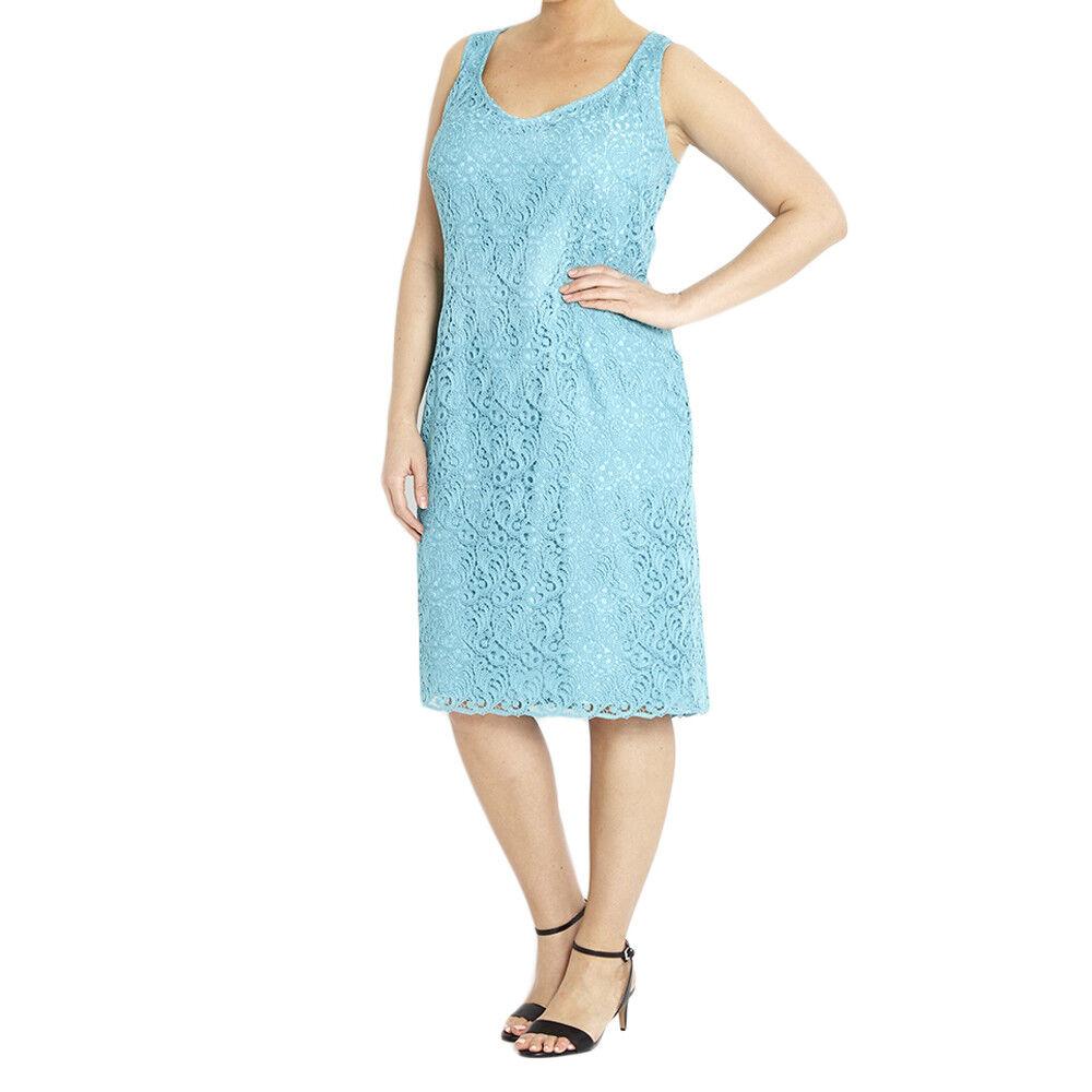 Marina Rinaldi Damen Ski Blau Dicitore Spitzen-Overlay Kleid Nwt
