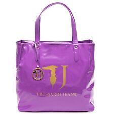 TRUSSARDI JEANS Borsa shopping a mano in pvc vernice lucida VIOLA 75B01VER28