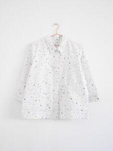Hof115-cos-blusa-camisa-algodon-blanco-seersucker-a-line-camisa-Cotton-42-UK-16