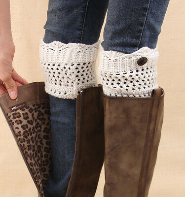 Women Ladies Winter Leg Warmers Button Crochet Knit Boot Socks Toppers Cuffs Hot