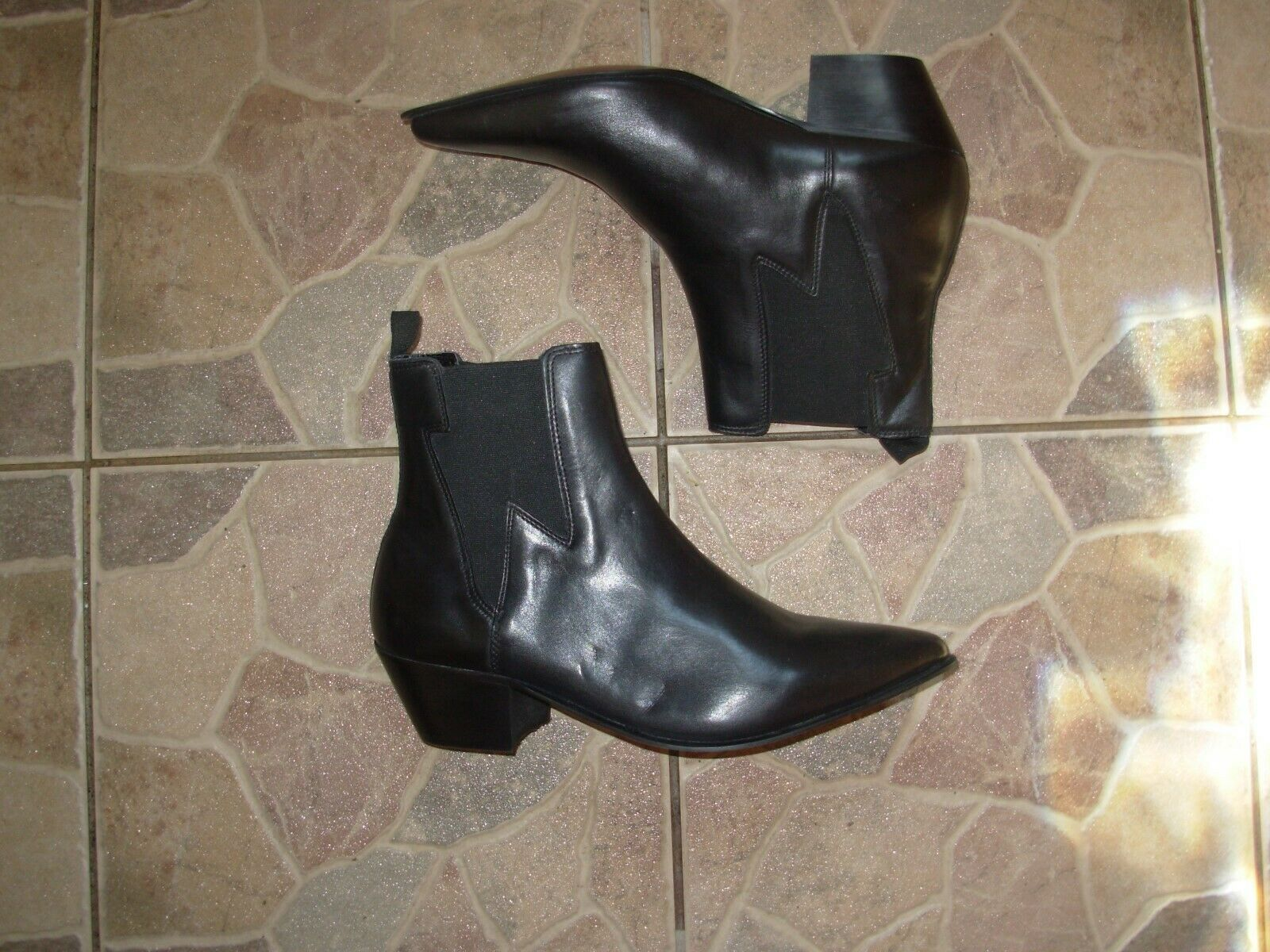 Black leather cowboy style boots by SoSo 9 uk 43 eu