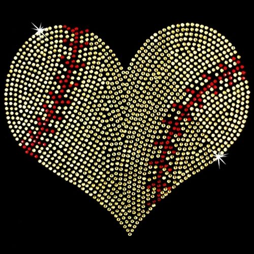 Hot Fix Motif Heart Love Sports Rhinestone Transfer