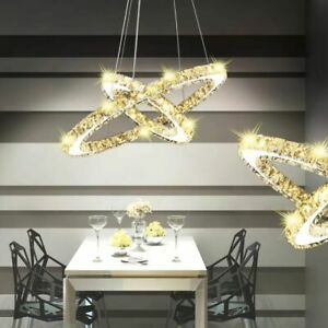 Lámpara Luces Original vidaXL LED Colgante de Detalles Círculo de Doble de Cristal Techo Ybvfy7g6