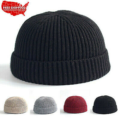 Men/'s Knitted Hat Beanie Skullcap Sailor Cap Cuff Brimless Retro Beanie 4 Colors