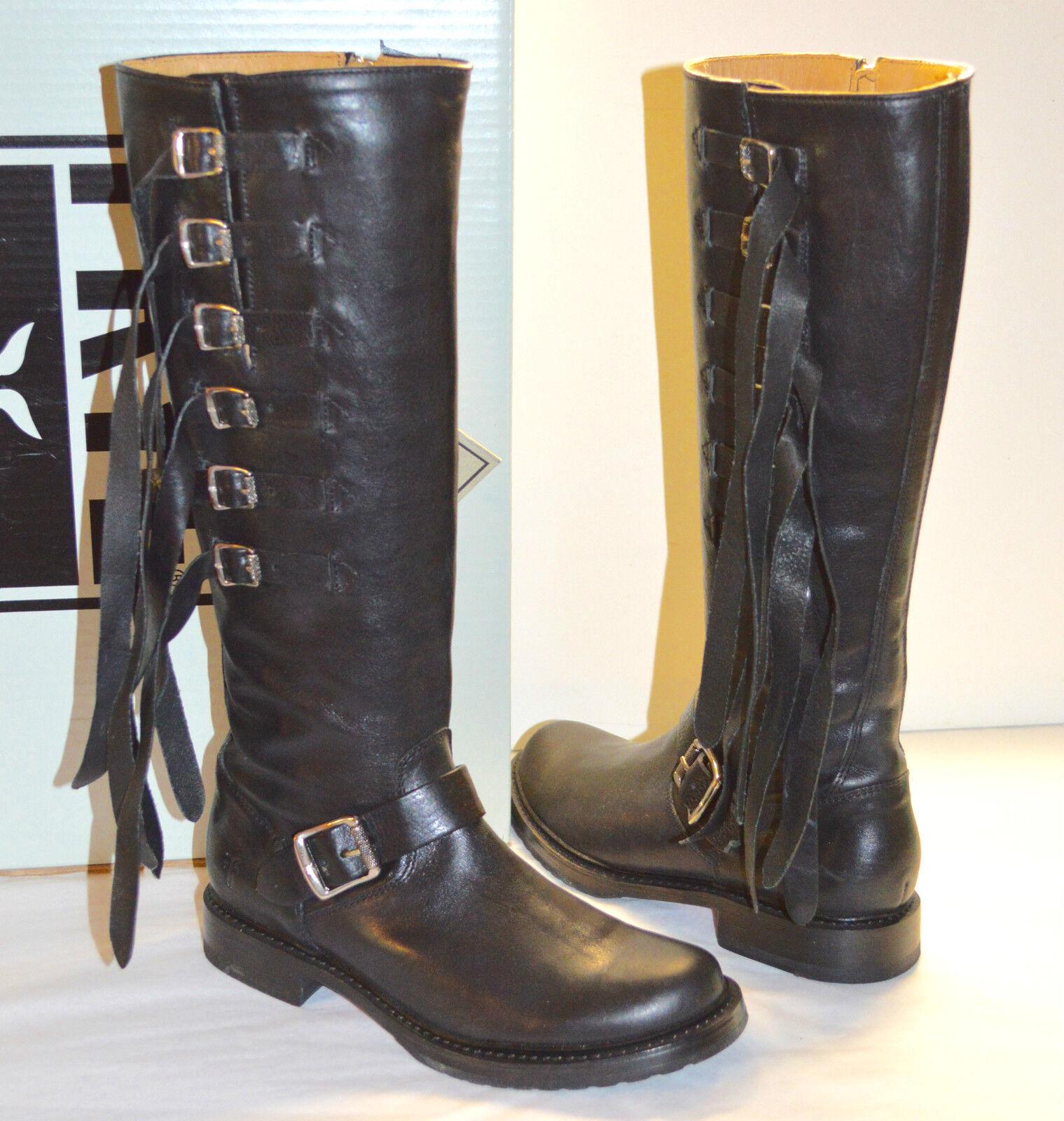 Nuevo    498 Frye Veronica Correa De Alto Cuero Negro botas De Moto Flecos Correas De Alto  moda