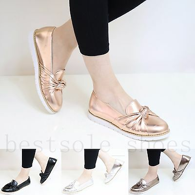 Ladies Chunky Sole Loafers Slip On Flats Twist Bow Embellished Pumps Comfy Shoes