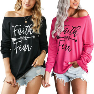 Women-039-s-Faith-Over-Fear-Printed-Pullover-Sweatshirts-Causal-Hoodies-Tops-Shirts