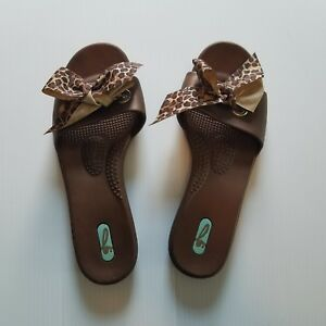 1cee23b928976 Oka-B Okabashi Women s Size M L Leopard Bow Print Slides Sandals ...
